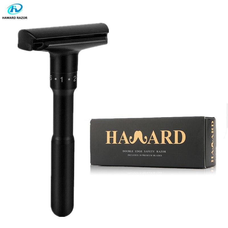 HAWARD Adjustable Safety Razor Matt Black Luxury Double-edged Men's Manual Razor Classic Hair Removal Shaver 10 Shaving Blades
