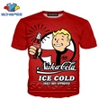 Забавная футболка с 3d принтом Аниме Мужская и женская модная футболка с логотипом Fallout Finger 4  Детская футболка Harajuku  Забавные футболки homme  фу...