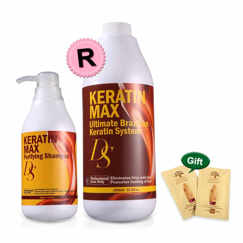 500ml Purifying Shampoo Repair Damaged Hair Ds Max Professional Deep Cleaning+1000ml 12% Formalin Keratin Treatment Straighten
