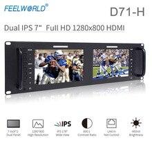 Feelworld D71 H デュアル 7 インチ 3RU ips 1280 × 800 hdmi 液晶ラックマウントモニターポータブル 2 画面放送モニター