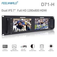 Feelworld D71 H Dual 7 Zoll 3RU IPS 1280x800 HDMI LCD Rack Montieren Monitor Tragbare 2 Bildschirme Broadcast Monitor