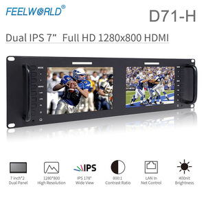 Image 1 - Feelworld Monitor de montaje en Rack LCD, D71 H Dual, 7 pulgadas, 3RU, IPS, 1280x800, HDMI, portátil, 2 pantallas, Monitor de transmisión