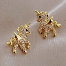 Cute Unicorn Stud Earrings for Women Fairy Animal Gold Color Cubic Zirconia Earrings Girls Birthday Party Gift Jewelry
