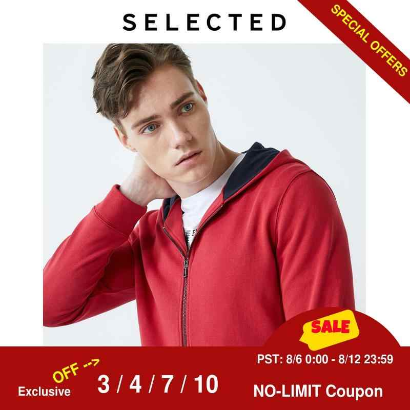 SELECTED 남성용면 100% Red Hooded Zip-through 스웨트 I | 41934D509