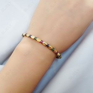 Image 3 - SLJELY High Quality 925 Sterling Silver Multicolor Zirconia Cross Tribal Bangle Yellow Gold Color Women Mana Bracelet Jewelry