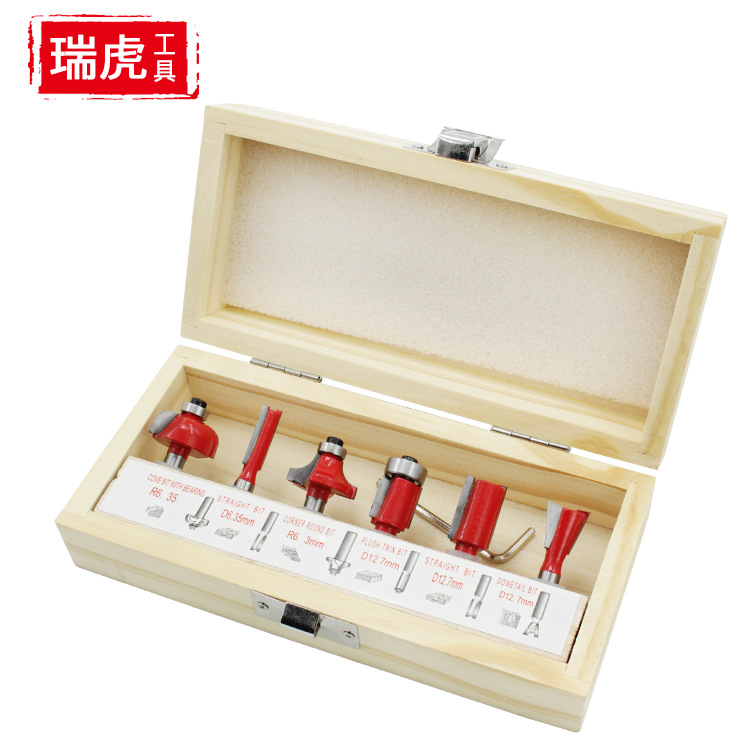 Router Bits Set Electric Router Engraving Machine Flash Trimmer Straight Knife 6 Pieces Knife Trimmer Only Milling Cutter