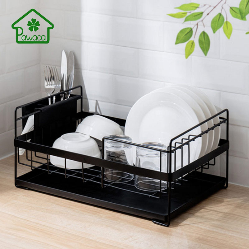 Pawaca Multi-function Tableware Drying Rack Wrought Iron Durable Large-capacity Dish Drainer Organizer Kitchen Dish Drainer Rack