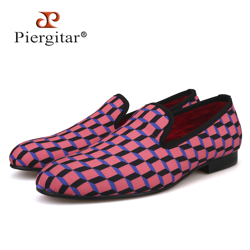 Piergitar New Arrival Handcrafted Multi-Colors 3D Print Check Men's Casual Canvas Shoes Loafer For Daily, Wedding And Party