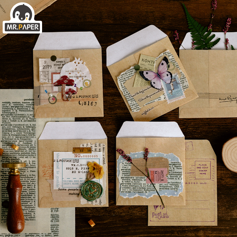 Mr.paper Retro Stowmarket Plants Kraft Weekly Plan Packing Bag Card Note Decoration Holder Subpackage Bag School Official Supply