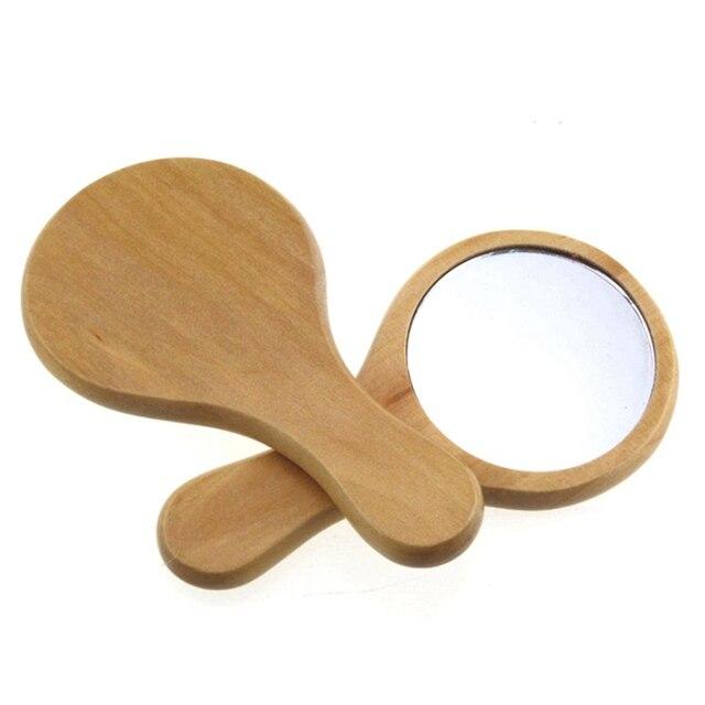 зеркало из натурального дерева деревянное ручное зеркало винтажное фотография