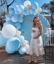 91 Stks/set Macaron Blauw Wit Pastel Ballonnen Guirlande Boog Kit Confetti Verjaardag Bruiloft Baby Shower Anniversary Party Decoratie
