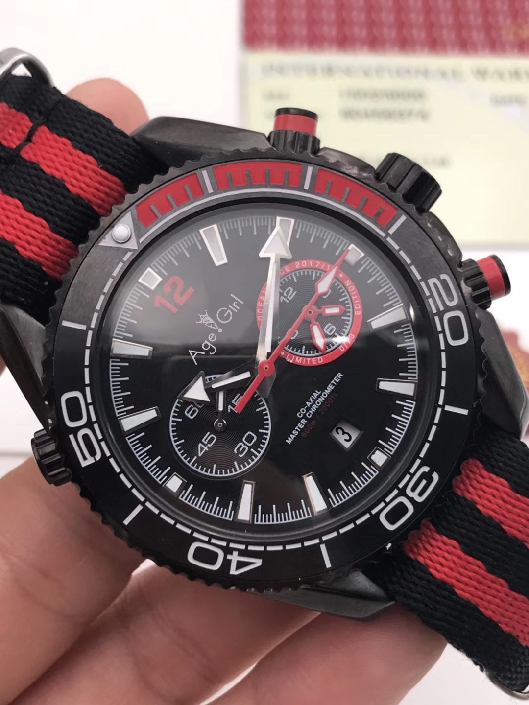 Luxury Brand New Men Automatic Mechanical Stainless Steel Canvas Black Red 007 Sapphire Watches Ceramic Bezel 43mm AAA+
