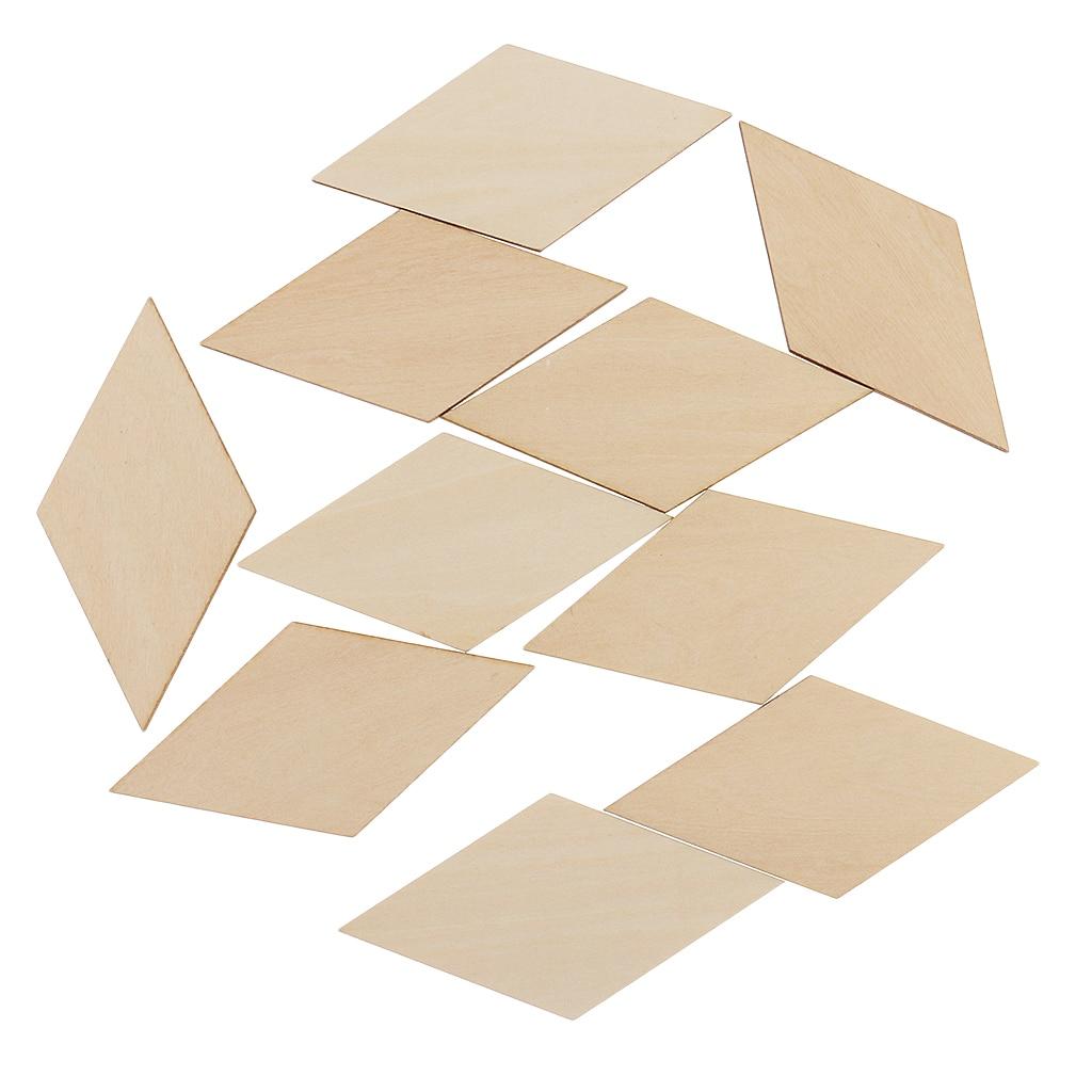 10x Premium Wood Plywood Sheet Blank MDF Wooden Rhombus Pieces Tags 100x50mm