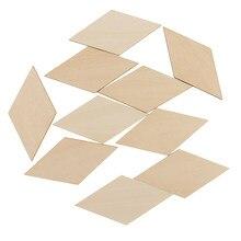 10x プレミアム木材合板シートブランク MDF 木製菱形個タグ 100x50mm