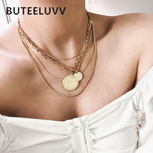 Multilayered Gold Chain Choker Necklace Women Statement Jewelry Fashion Vintage Round Relief Queen Coin Pendant Necklaces meibeads vintage carved gold coin roman necklace for women bohemian pendant necklaces boho jewelry choker statement necklaces