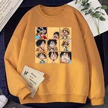 Um pedaço engraçado luffy comics imprime roupas das mulheres hip hop bonito hoodie com capuz lã casual crewneck pulôver velo moletom