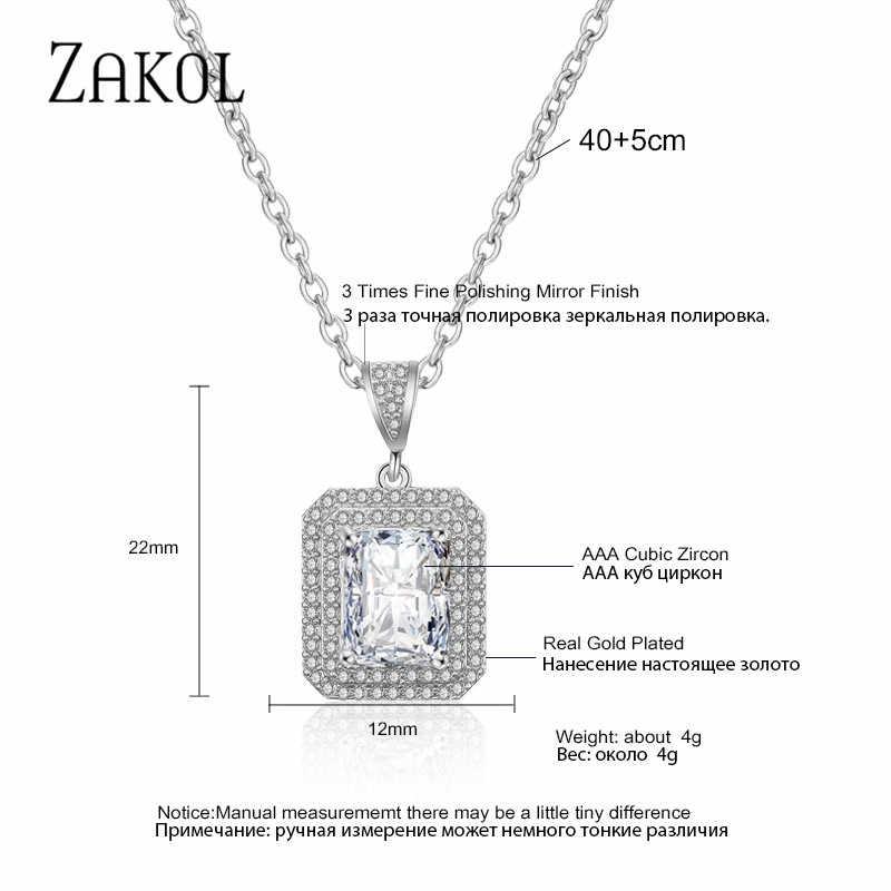 ZAKOL CLASSIC Square Cubic Zirconia จี้สร้อยคอผู้หญิงเครื่องประดับงานแต่งงานของขวัญวันวาเลนไทน์ FSNP2111