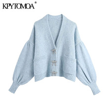 KPYTOMOA Women Fashion Rhinestone Buttons Loose Knitted Cardigan Sweater Vintage Long Sleeve Pockets Female Outerwear Chic Tops