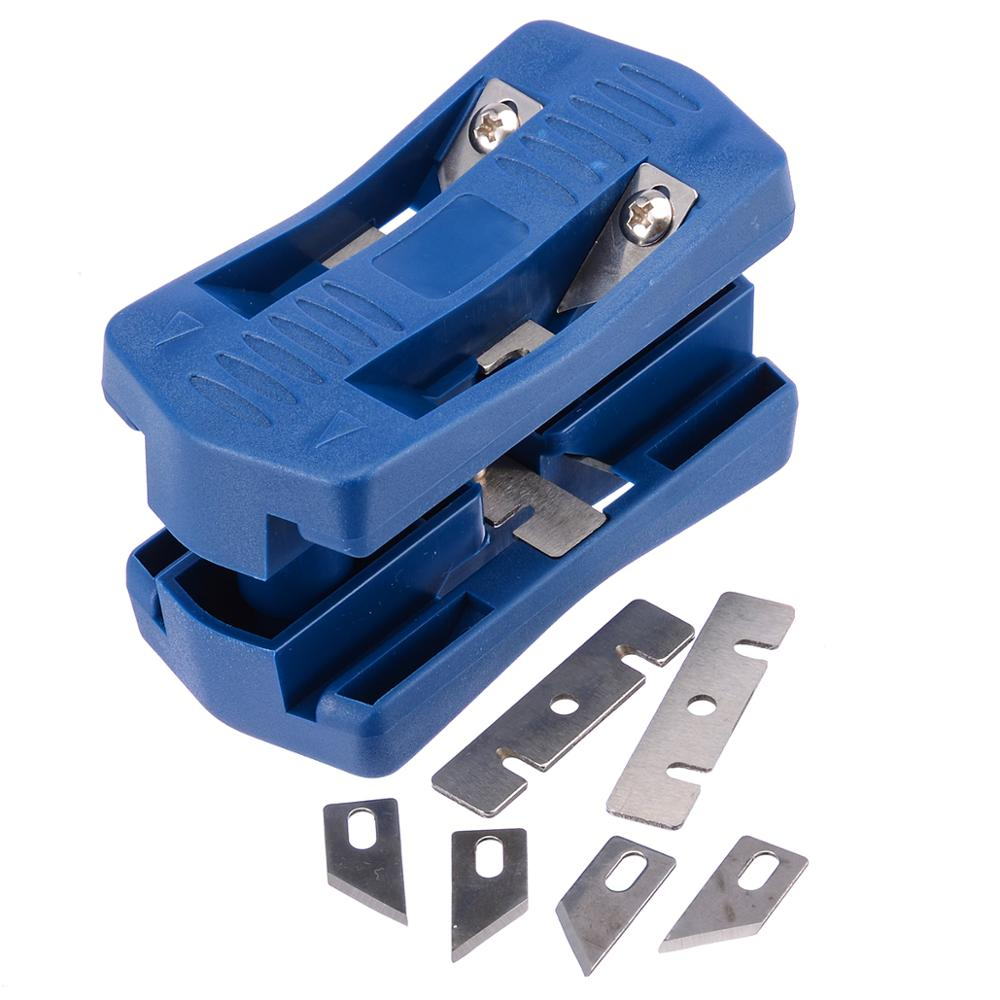 PVC Blue Double Edge Trimmer Wood Edge Banding Machine Manual Tail Trimming With Blades Woodworking Tool