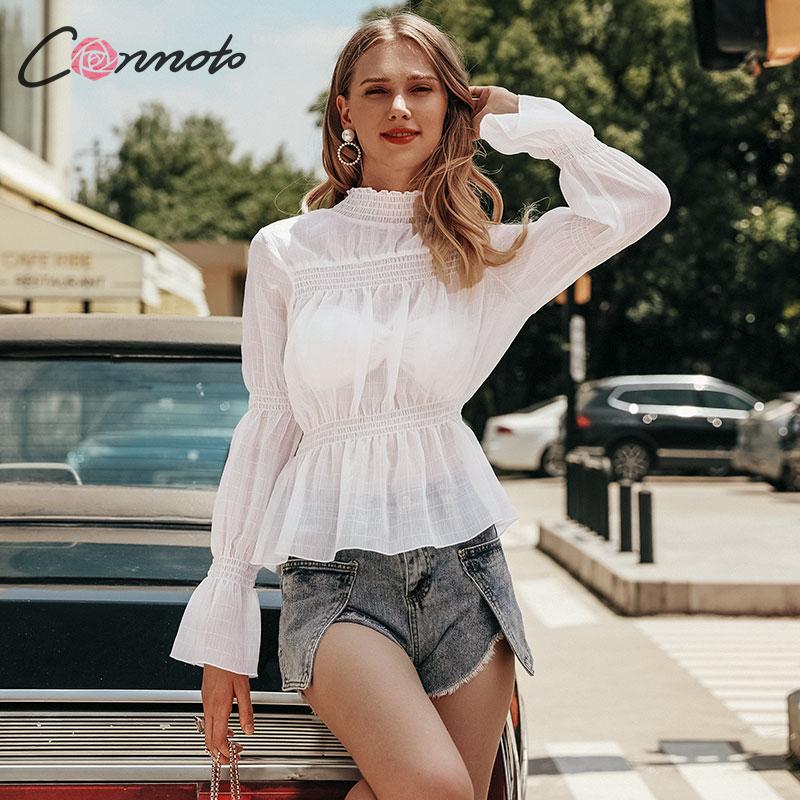Conmoto Ladies Fashion White Shirt Female Long Sleeve High Autumn Winter Women Tops And Blouse See Through Chiffon Blouse Camis