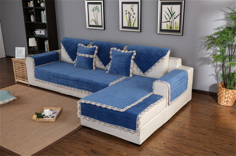Thick Slip Resistant Couch Cover for Corner Sofa Made with Plush Fabric Including Lace for Living Room Decor 37