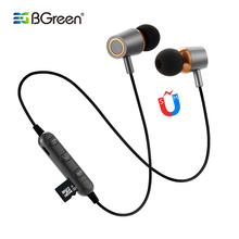 BGreen Bluetooth Sport Sports Earphone Support Micro SD Card Playback In Line Control With Microphon