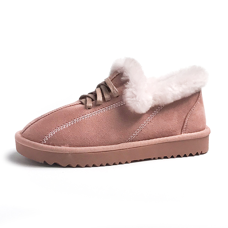2019 New Arrival Winter Boot Pink Solid Color Fashion Casual Fur Warm Comfortable High Quality Fashion Women Winter Shoes 43