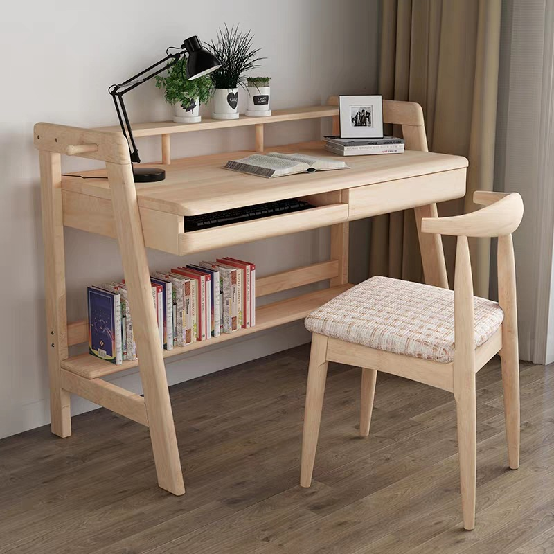 Northern European-Style Solid Wood Desk With Keyboard Simple Japanese Style Office Desk Students Writing Desk Simplicity Desktop
