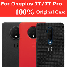 100% Original OnePlus 7T Pro กรณีอย่างเป็นทางการสำหรับ ONE PLUS 7T Pro 7Tpro กรณีซิลิโคนไนลอนหินทราย Karbon ฝาครอบ OnePlus 7T