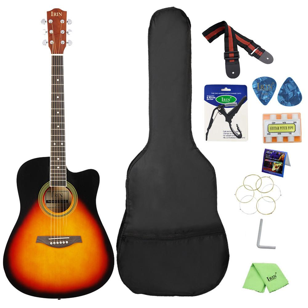 BassWood Guitar Cutaway Acoustic Guitar Wooden Fingerboard Include Bag Strap String Pick Six-hole Tuning Flute Capo Wrenc image
