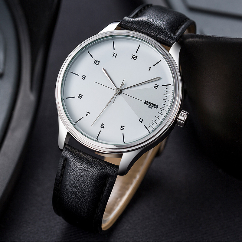 Yazole Fashion Waterproof Mens Watches Top Brand Luxury Leather Analog Quartz Watch Men Casual Relogio Masculino Erkek Kol Saati