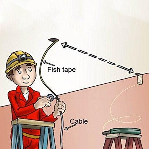 30 metros de fibra de vidro peixe fita carretel extrator canalizacao rodder puxando fio cabo