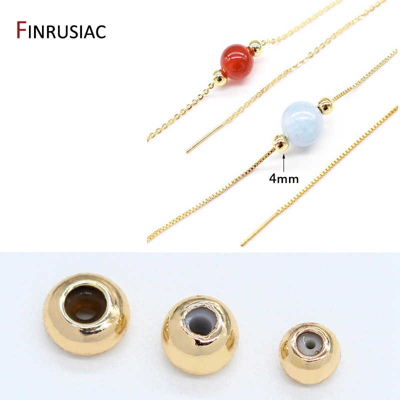 14K Rose Gold Filled Stopper Beads Necklace Bead 3mm 4mm Rose Gold Filled Smart Beads with Silicone Round Silicone Beads Bracelet Bead