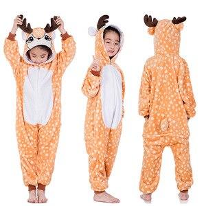 Image 3 - بيجامات Kigurumi شتوية ناعمة للبنات بيجاما على شكل وحيد القرن زي تنكري مضحك بنقشة حيوان الباندا كارتوني ملابس نوم بيجامات Kigurumi