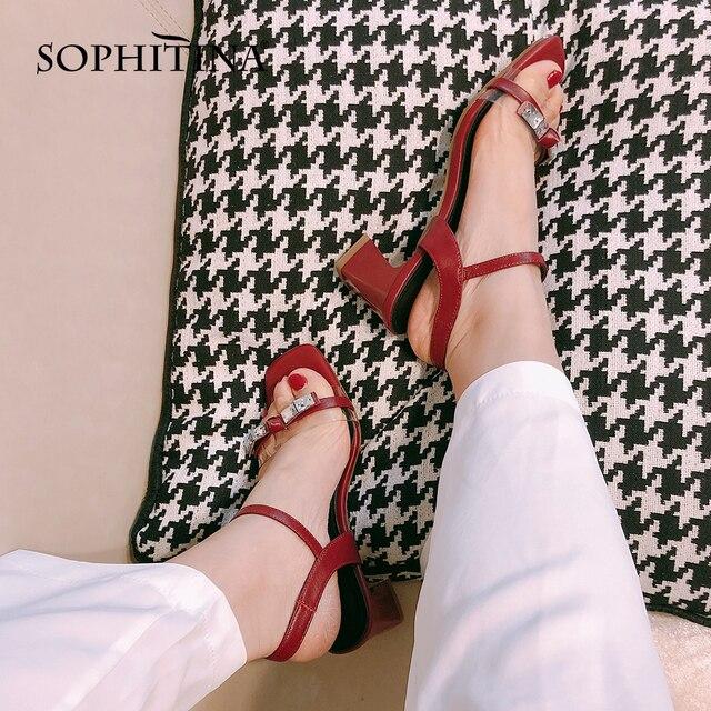 Купить сандалии sophitina женские кожаные элегантные босоножки с открытым картинки цена