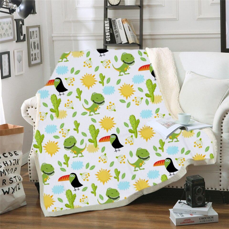 Cozy Soft Dinosaur Blanket for Kids Dinosaur Cartoon Microfiber Plush Sherpa