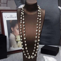 Women Luxury Long Chain Pearl Zircon Maxi Necklace Fashion Brand Costume Jewelry Party Wedding Designer Accessaries 2019 New