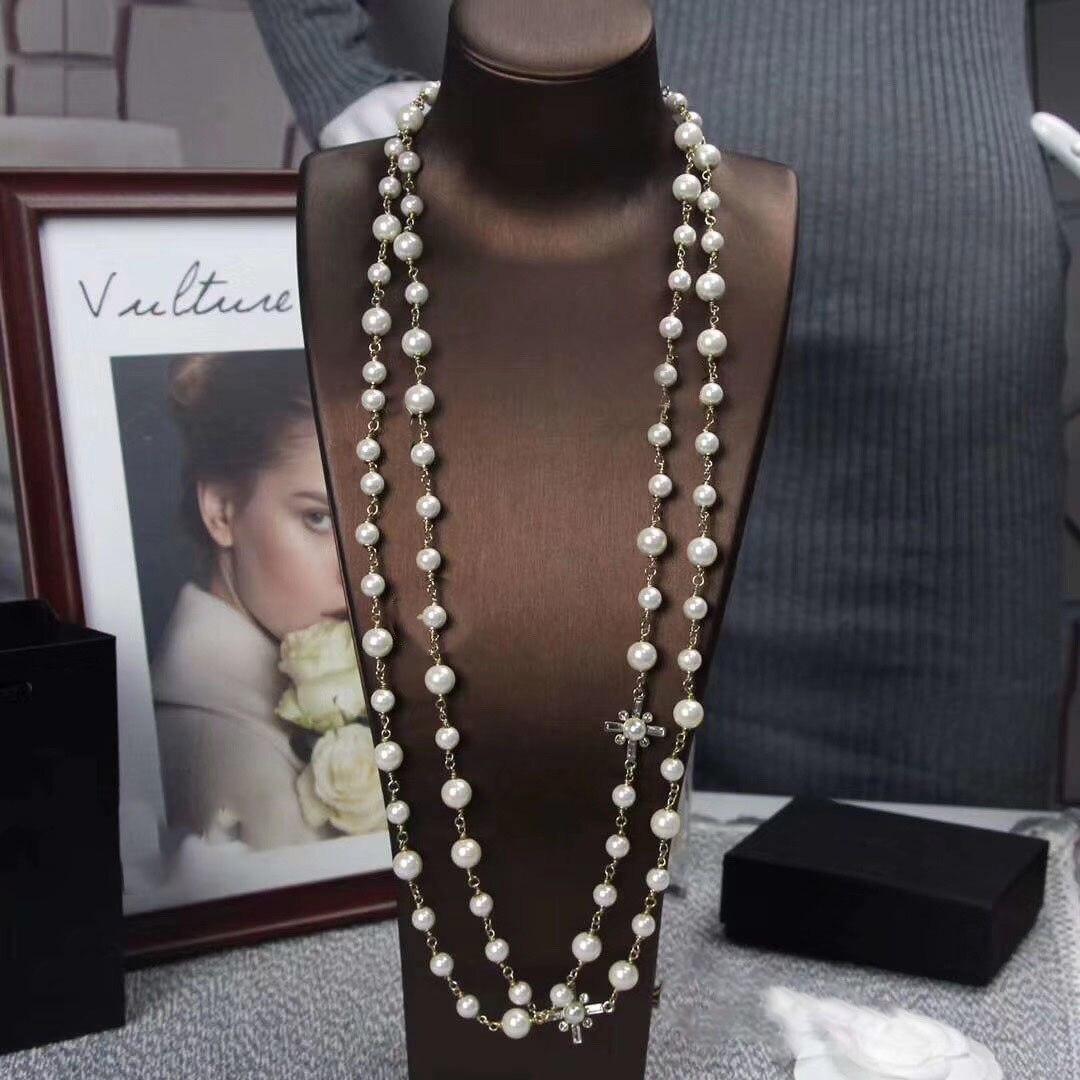 Femmes luxe longue chaîne perle Zircon Maxi collier marque de mode Costume bijoux fête mariage Designer accessoires 2019 nouveau