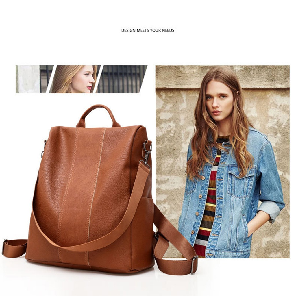 2019 NEW Ladies Faux Leather Shoulder Bag  Woman Backpack Bag Anti-theft Casual Wild Soft Leather Dual-use Small Backpack