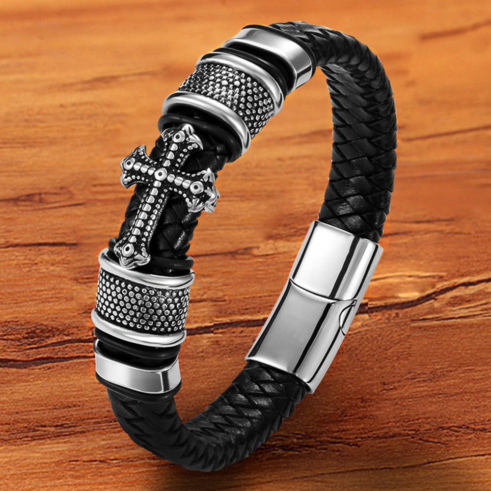 Luxury Charm Multilayer Magnetic Buckle Black Genuine Leather Men Bracelet Cross Jewelry Handmade Punk Gift For boy friend