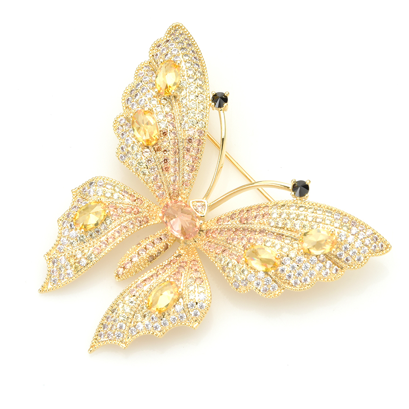 Wuli&baby Luxury Cubic Zircon Butterfly Brooches Women Top Quality Czech Rhinestone Insect Weddings Banquet Brooch Pins Gifts