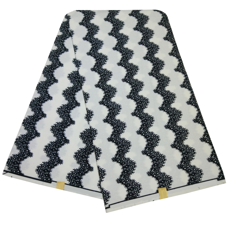 2019 New African Black And White Pattern Printed Real Wax Fabric 6 Yards/Piece African Fabric Batik Wax For Women