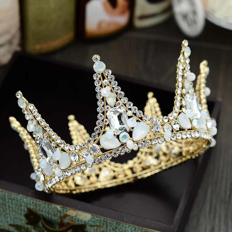 Perhiasan Pengantin Euro Amerika Buatan Tangan Mahkota Kristal Pernikahan Gaun, Hiasan Kepala, Studio Film Pernikahan Rambut Perhiasan