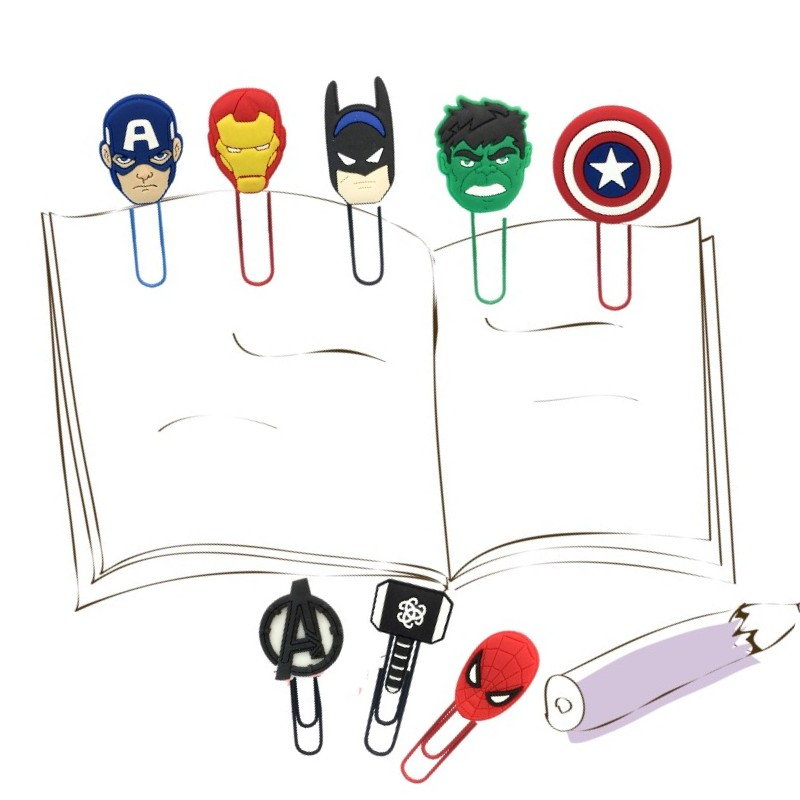25pcs/lot Avenger Bookmarks Superheroes Paper Clips For Student Teacher Action Figure Hulk Iron Man Page Holder Kids Gift