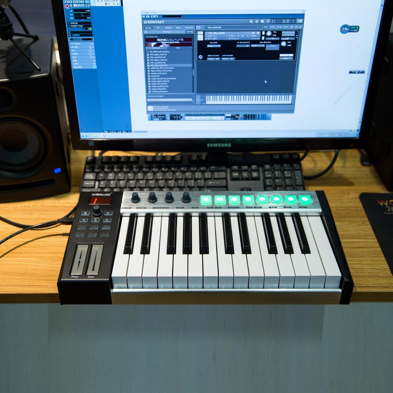 Worlde 25 teclas de teclado usb portátil