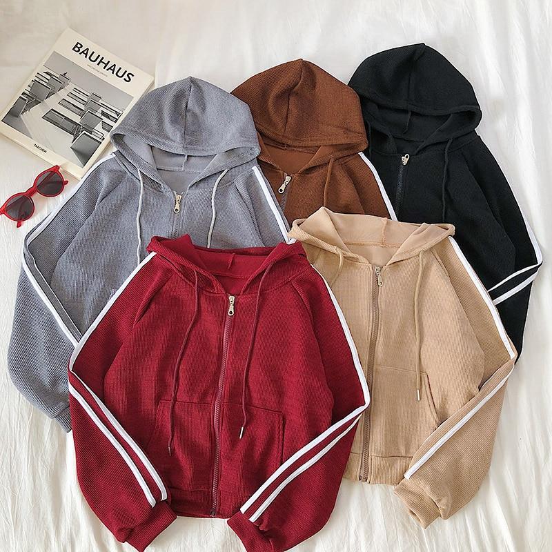Heliar 2020 Autumn Women Zipper Fly  Hoody Jacket Female Cardigans Fashion Long Sleeve Tops Casual Female Pullovers For Women