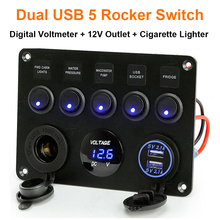 5 Gang Switch Panel 12V/24V Digital Voltmeter Rocker Switch Blue LED Light with Cigarette Lighter Dual USB for RV Car Boat Truck цена в Москве и Питере