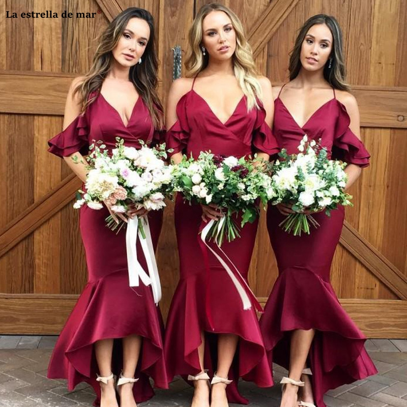 Burgundy Mermaid Bridesmaid Dresses Sexy Deep V Neck Spaghetti Straps Off The Shoulder Satin Boho Wedding Guest Gowns Customized
