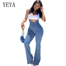 YEYA New Summer Light Blue Bodycon Jumpsuits Fashion Sexy Spaghetti Strap Tight Hollow Out Long Playsuits Casual Overalls