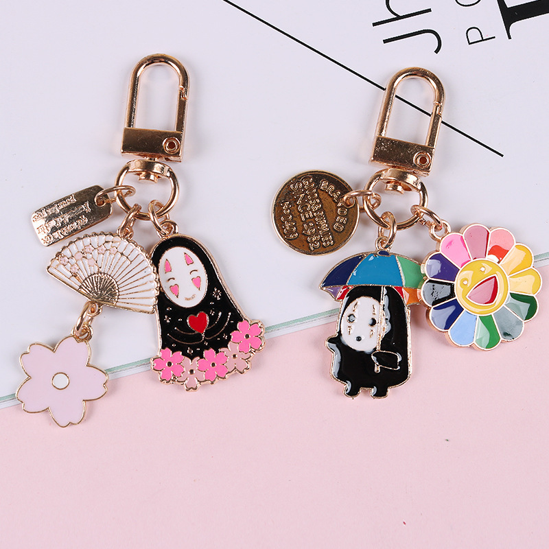 1pc Japanese Animation Kaonashi No Face Man Flower Cute Keychain Accessories DIY Gift